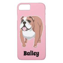 English Bulldog Art Pink Personalized iPhone Case