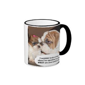 English Bulldog Attention! Ringer Coffee Mug