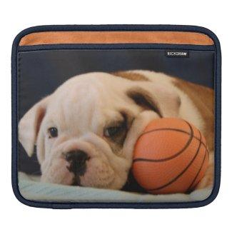 English Bulldog Basketball Puppy iPad Sleeves