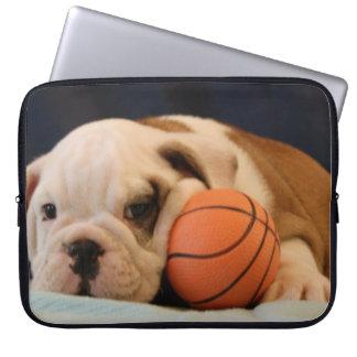 English Bulldog Basketball Puppy Laptop Sleeve