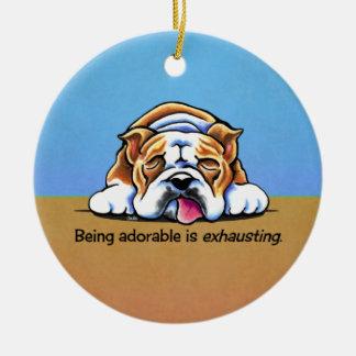 English Bulldog Being Adorable Off-Leash Art™ Ceramic Ornament