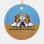 English Bulldog Being Adorable Off-Leash Art™ Double-Sided Ceramic Round Christmas Ornament