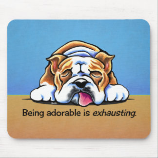 English Bulldog Being Adorable Off-Leash Art™ Mouse Pad