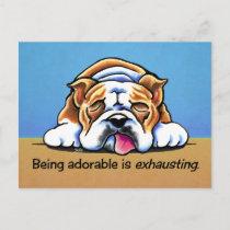 English Bulldog Being Adorable Off-Leash Art™ Postcard