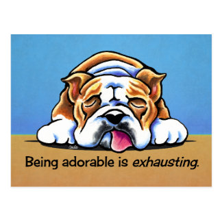 English Bulldog Being Adorable Off-Leash Art™ Postcard