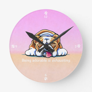 English Bulldog Being Adorable Off-Leash Art™ Round Clock