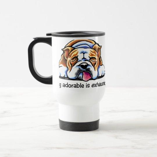 English Bulldog Being Adorable Off-Leash Art™ Travel Mug