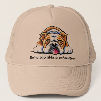 English Bulldog Being Adorable Off-Leash Art™ Trucker Hat