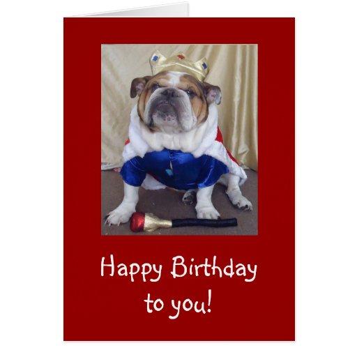 English Bulldog Birthday Card, Royalty Card