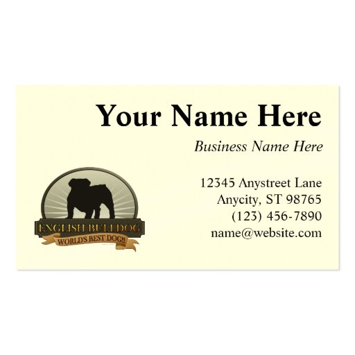English Bulldog Double-Sided Standard Business Cards (Pack Of 100)