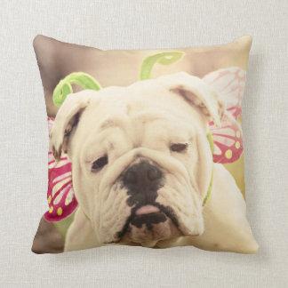English Bulldog Butterfly Photo Art Throw Pillow