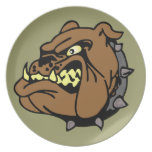 English Bulldog Cartoon Dinner Plate