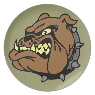 English Bulldog Cartoon Melamine Plate