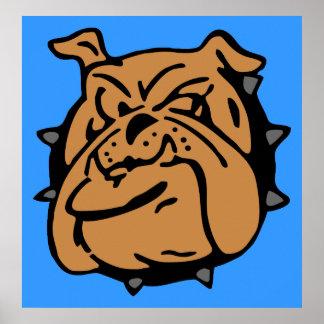 English Bulldog Cartoon Poster