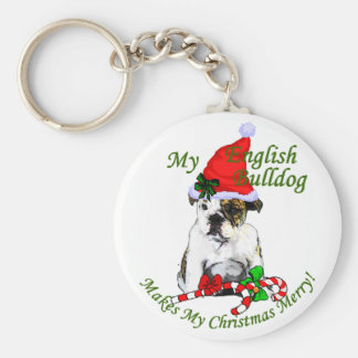 English Bulldog Christmas Gifts Keychain