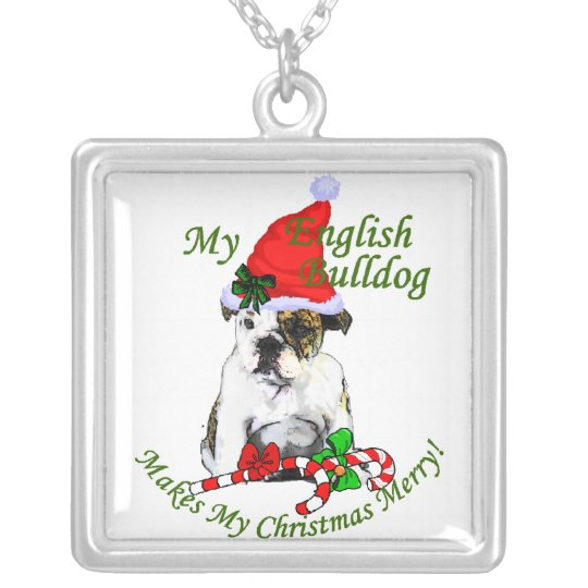 English Bulldog Christmas Gifts Silver Plated Necklace