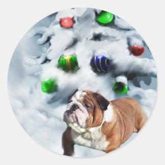 English Bulldog Christmas Gifts Round Stickers
