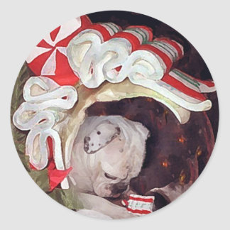 English Bulldog Christmas Reflection Round Sticker