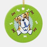 English Bulldog Christmas Wreath Ceramic Ornament