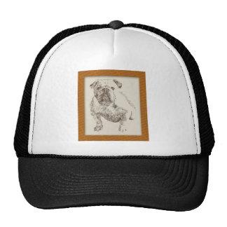 English Bulldog dog art drawn from words Mesh Hats