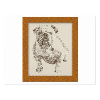 English Bulldog dog art drawn from words Postcard
