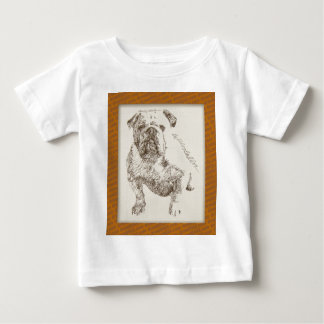 English Bulldog dog art drawn from words T Shirt