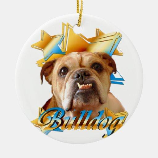 English bulldog Double-Sided ceramic round christmas ornament