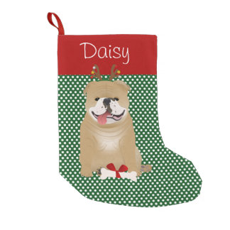 English Bulldog Fawn Color Personalized Small Christmas Stocking