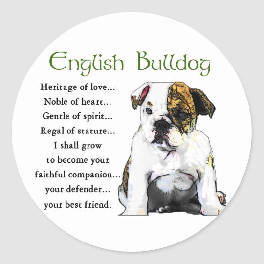 English Bulldog Gifts Classic Round Sticker