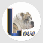 English Bulldog Gifts Round Stickers