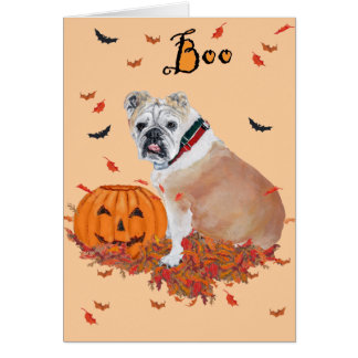 English Bulldog Halloween Card