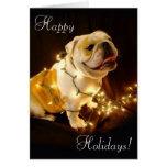 English bulldog holiday greeting card
