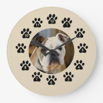 English Bulldog Large Clock
