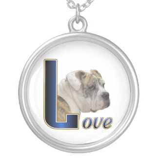 English Bulldog Love Silver Plated Necklace