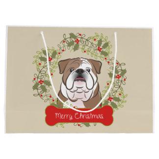 English Bulldog Merry Christman Gift Bag Large Gift Bag