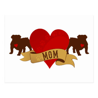 English Bulldog Mom [Tattoo style] Postcard