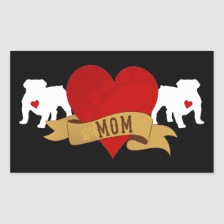 English Bulldog Mom [Tattoo style] Rectangular Sticker