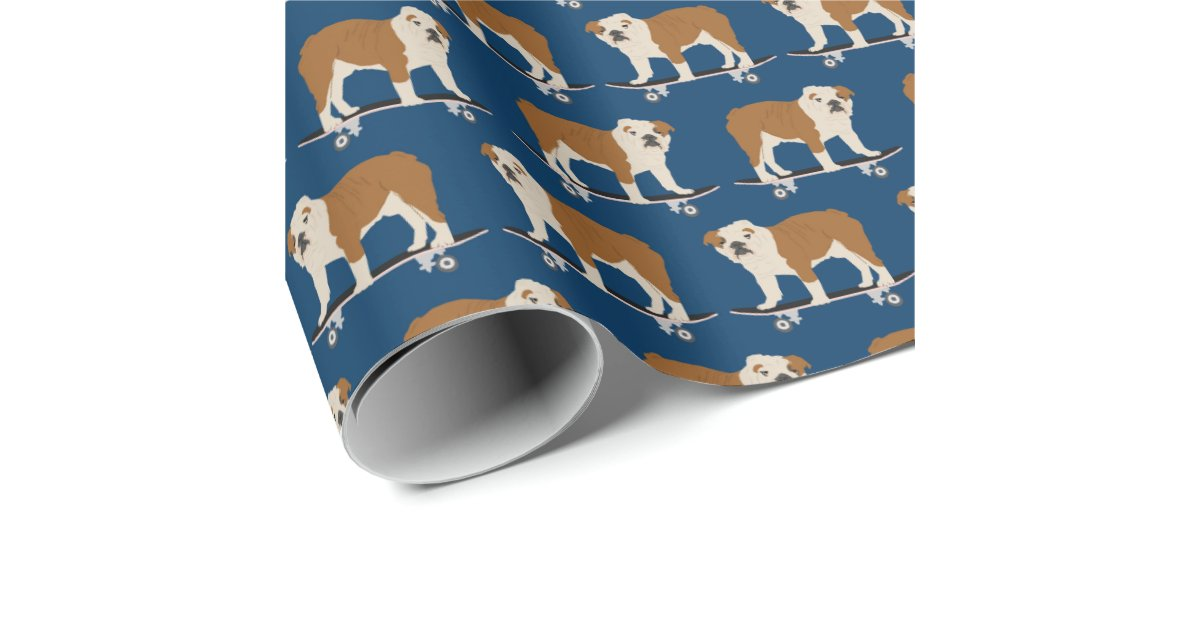 English Bulldog On Skateboard Wrapping Paper Zazzle