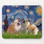 English Bulldog Pair 2 - Starry Night Mouse Pad
