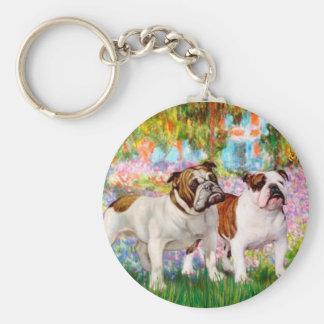 English Bulldog Pair - Garden Keychains