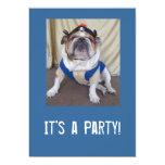 "English Bulldog Party Invitations 5"" X 7"" Invitation Card"