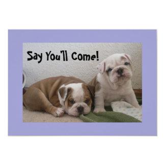 English Bulldog Puppies Party Invitations! Card