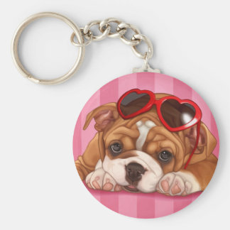English Bulldog Puppy Basic Round Button Keychain