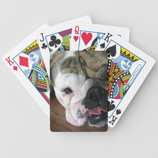 English Bulldog Puppy Bicycle Playing Cards