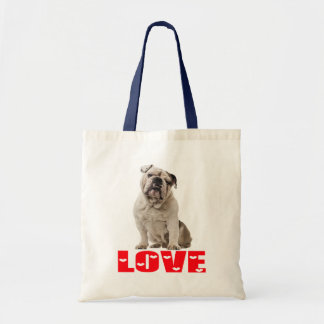 English Bulldog  Puppy Brown & White Dog Red Love Tote Bag