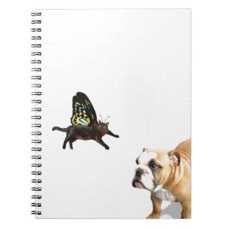 English Bulldog puppy dog and Kitten Fairy Notebook