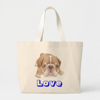 English Bulldog  Puppy Dog Canvas Beach Tote Bag