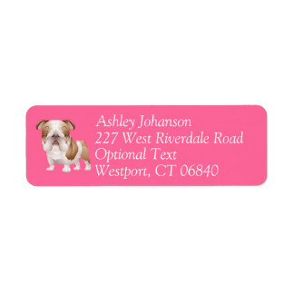 English Bulldog Puppy Dog Return Address l Label