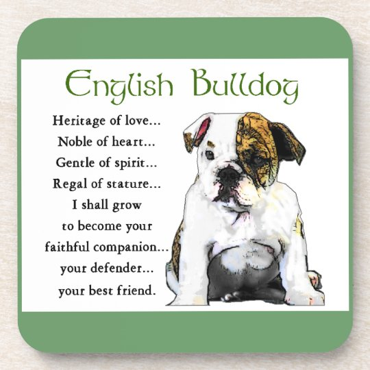 English Bulldog Puppy Heritage of Love Drink Coaster