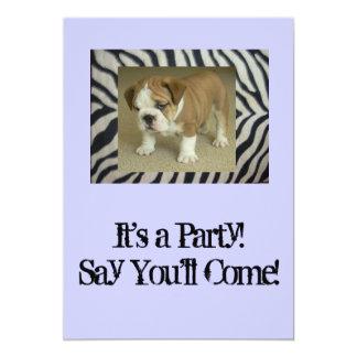 English Bulldog Puppy Party Invitation Birthday An